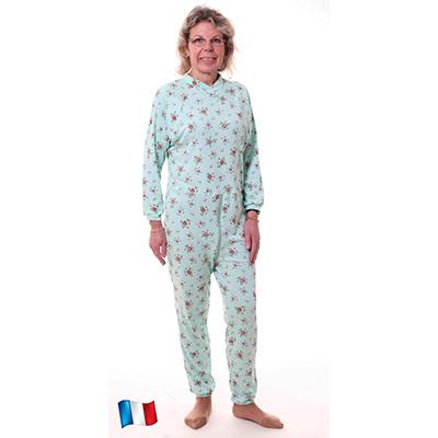 pyjama femme une seule pièce adapté incontinence à fleurs