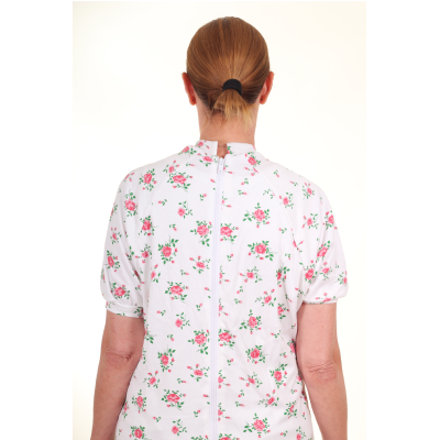 dos combinaison anti déshabillage fleurie manches courtes