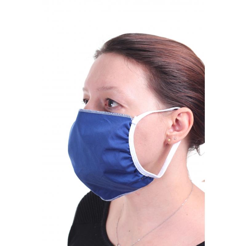 masque en tissu bleu cote
